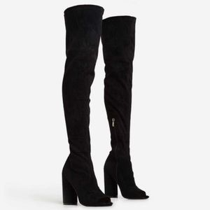 Black Over the Knee Open Toe Boots